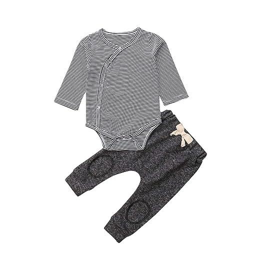7d5da26fcd9 Image Unavailable. Image not available for. Color  Newborn Baby Boys Cute  Stripe Romper Jumpsuit Bodysuit Top+Long Leggings Pants 2Pcs Outfits Clothes