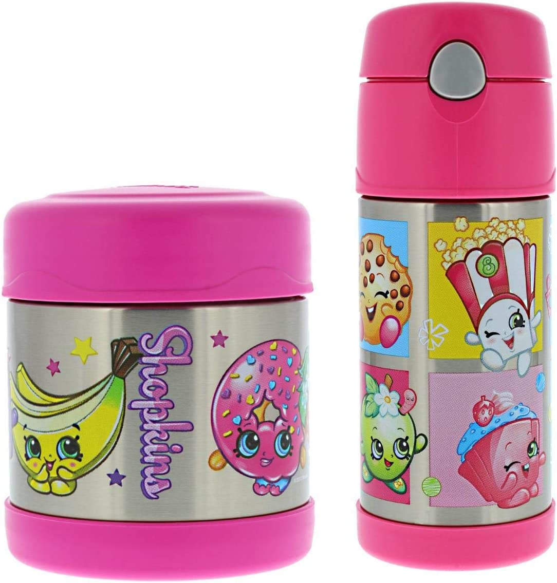 Thermos FUNtainer Vacuum Insulated Stainless Steel 10oz Food Jar & 12oz Water Bottle w/Straw Set - Tasteless and Odorless, BPA-Free, Great for Children, Lunchbag, Travel-Shopkins