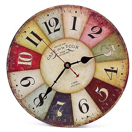 Orologio da Parete in Legno Vintage,30 cm Orologio Numerico Grande ...