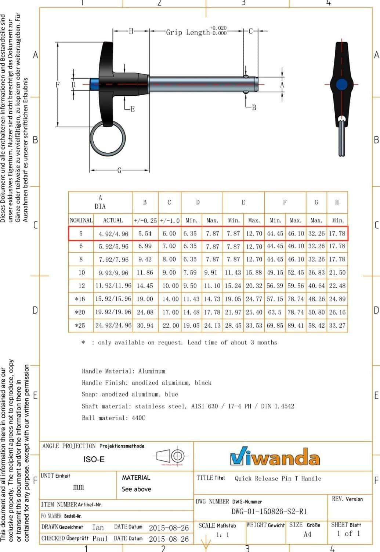 Pasador de Liberaci/ón R/ápida inoxidable con Mango en T Autobloqueable di/ámetro M10 Viwanda longitud de agarre 40mm
