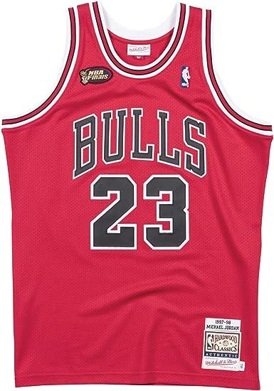 Mitchell & Ness Men's Chicago Bulls Authentic Michael Jordan Red 1997/98 Finals Hardwood Classics Road Jersey