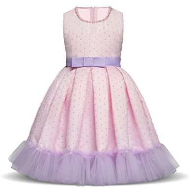 NNJXD Girls Sleeveless Birthday Wedding Party Tulle Princess Dresses for  Little Girl Size (110) fa9d04bfcc70