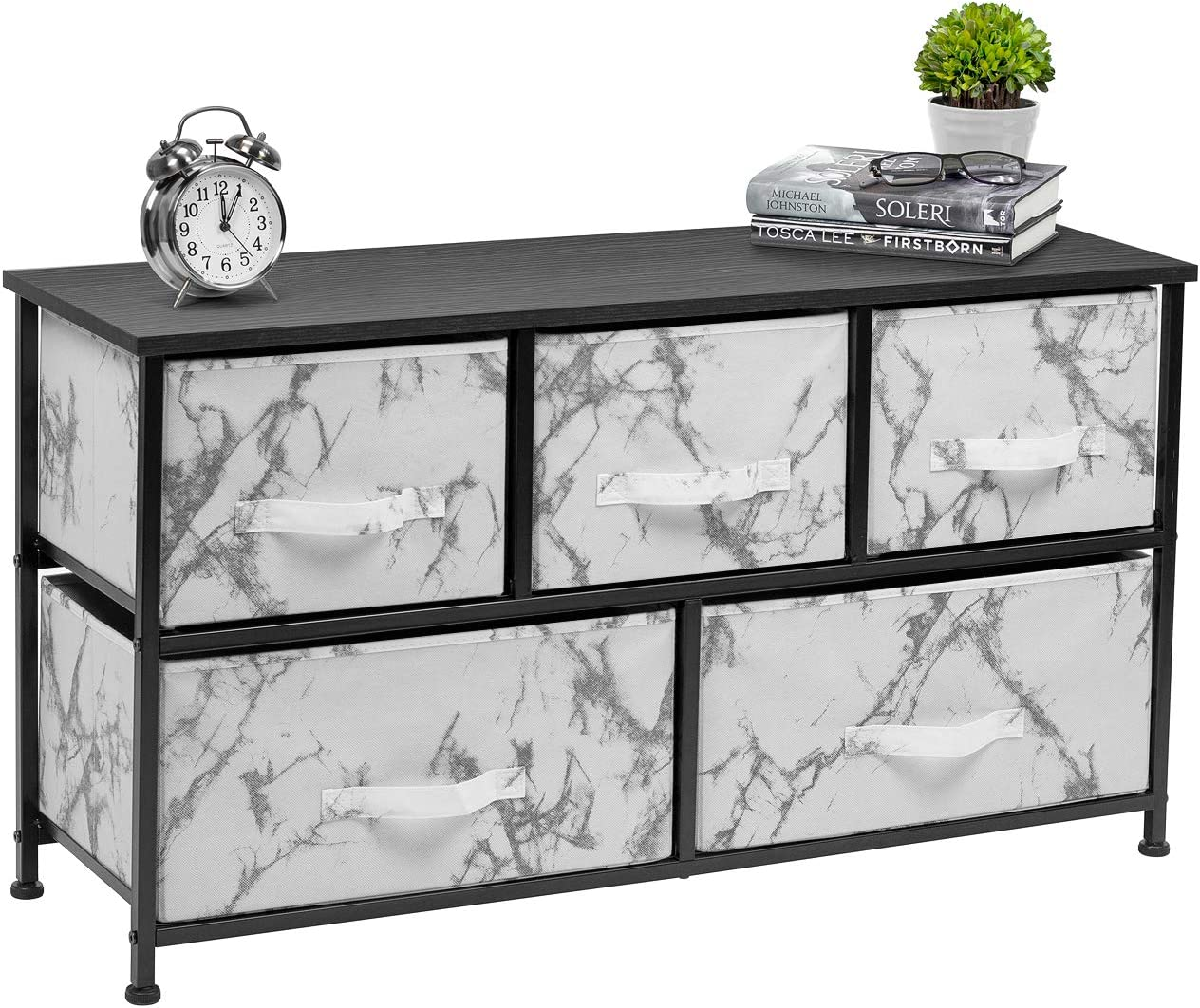 Sorbus Dresser with Drawers – Furniture Storage Chest Tower Unit for Bedroom, Hallway, Closet, Office Organization – Steel Frame, Wood Top, Marble Pattern Fabric Bins Marble White Black Frame