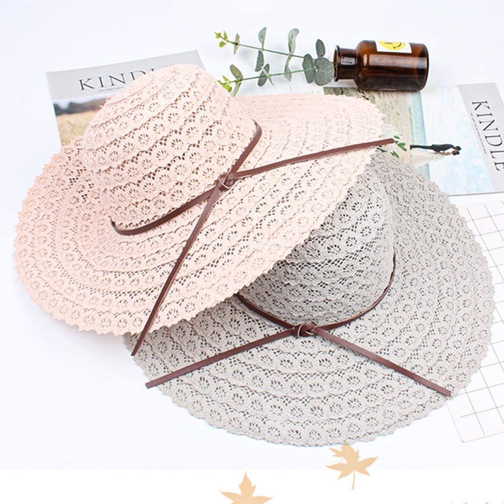 EAPTS Women Summer Beach Foldable Floppy Beach Sun Hat Wide Brim Packable Solid Color Faux Leather Bowknot Weave Lace Bucket Cap Grey