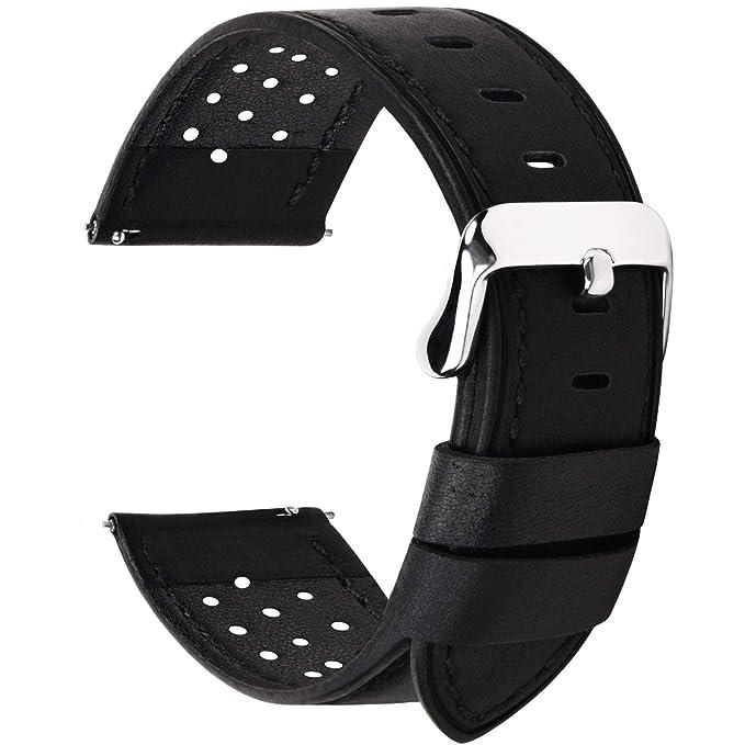 Fullmosa Correa de Reloj 18mm 20mm 22mm 24mm liberación rápida, 5 Colores Breeze Correa de Cuero de Banda de Piel de Becerro, 22mm Negro
