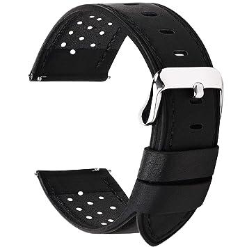 Fullmosa Correa de Reloj 18mm 20mm 22mm 24mm liberación rápida, 5 Colores Breeze Correa de Cuero de Banda de Piel de Becerro, 20mm Negro