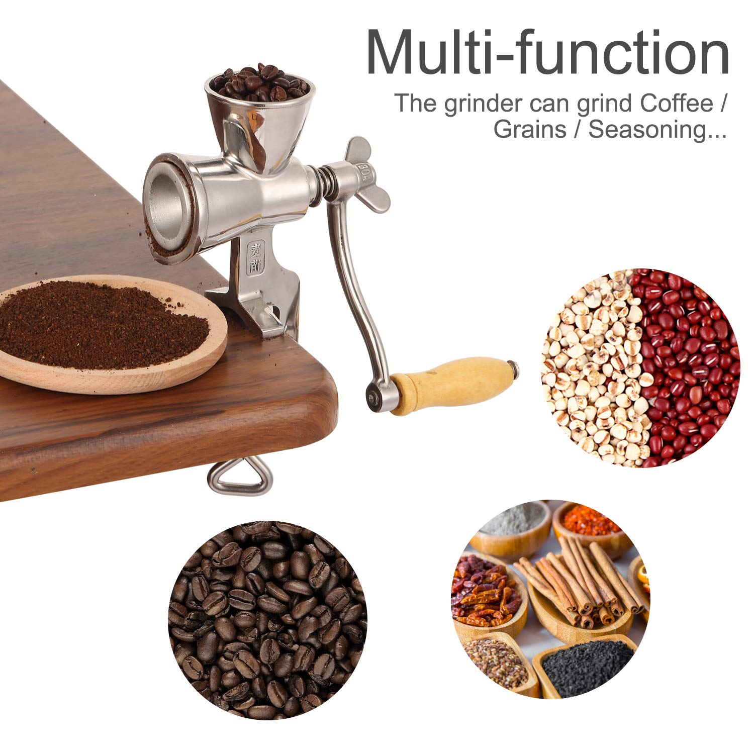 Heavy Duty Stainless Steel Mini Manual Coffee Bean Grinder, DIY Hand Crank Home Kitchen Grind Tool Adjustable for Coarse to Fine