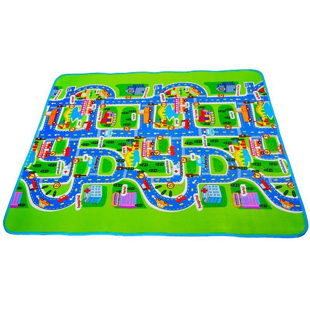 OYTRO Baby Kids Puzzle Words Color Crawling Mat Baby Gyms Playmats Single Side City Traffic Pattern Foldable
