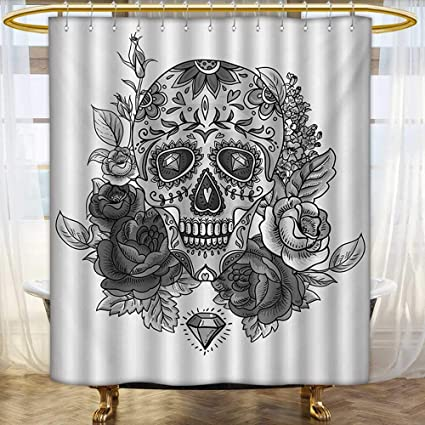 Lacencn Sugar SkullShower Curtains WaterproofMonochrome Skull With Roses Leaves And Diamond Shape