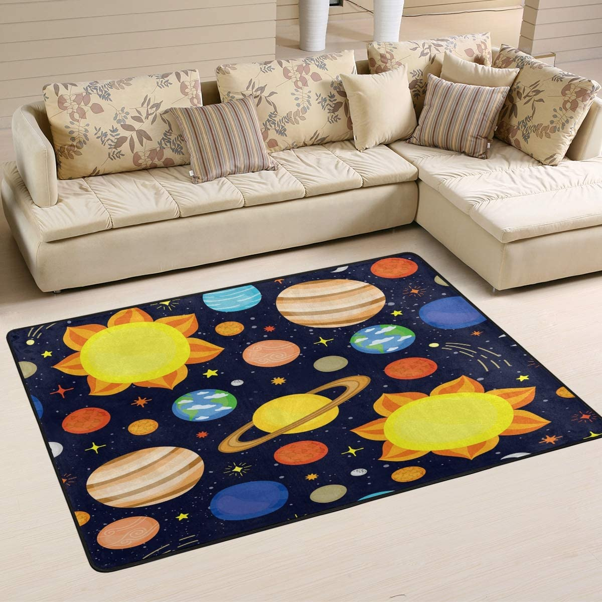 ALAZA Cartoon Space Solar System Planet Universe Area Rug for Living Room Bedroom 6 x4