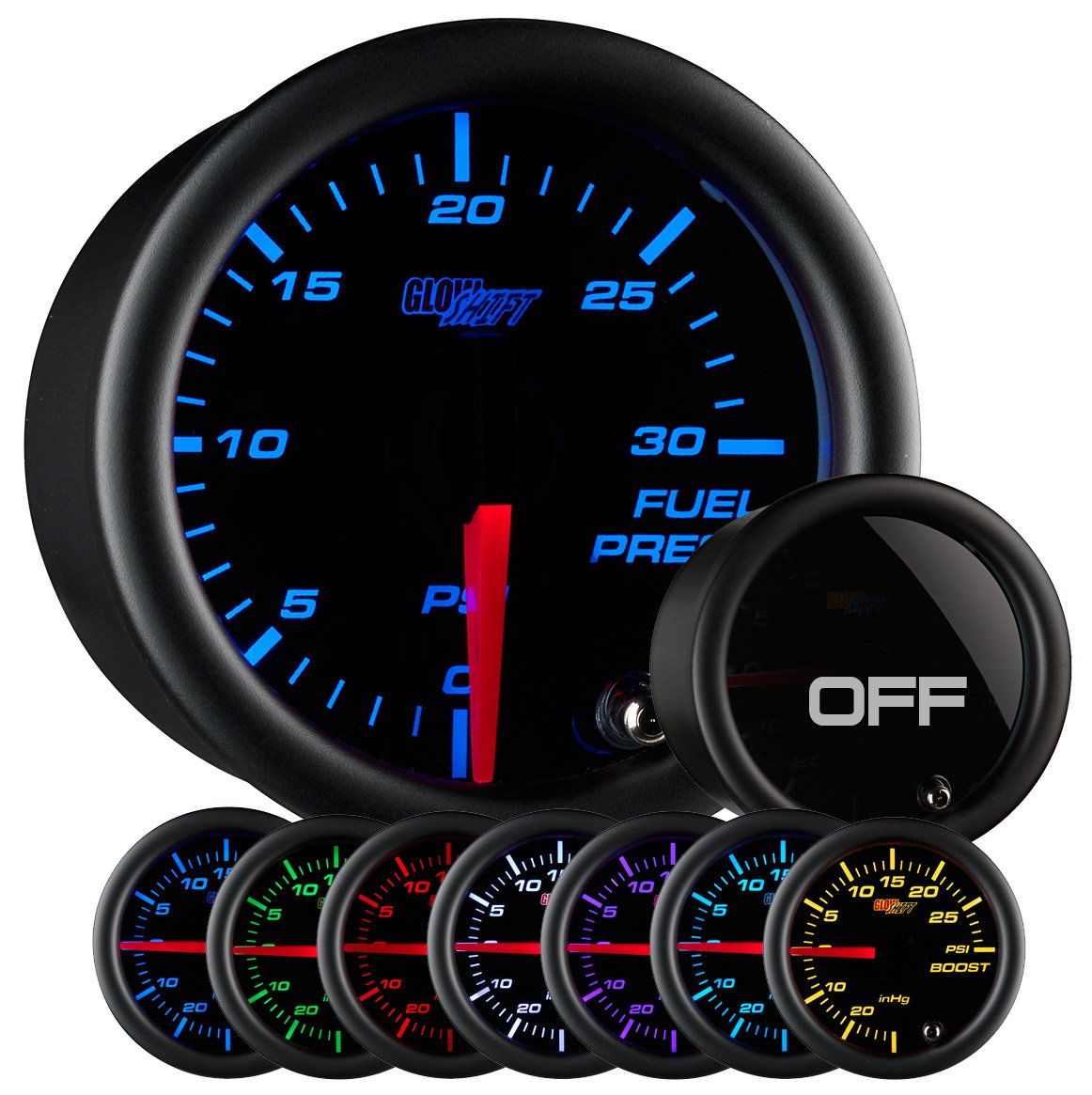 712Ndj3O9PL._SL1165_ amazon com glowshift tinted 7 color 30 psi fuel pressure gauge  at couponss.co