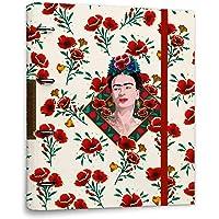 ERIK - Carpeta 4 anillas troquelada Frida Kahlo Flores, A4 (26x32 cm)