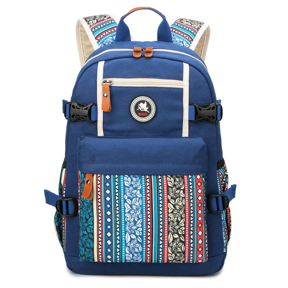 SPLHMILY Bohemian Style Lightweight Canvas Girl Backpack Shoulder Bag for Women, Multi-Pockets Rucksack Daypack for Daily Use, Navy Blue