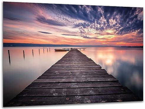 Wassersteg See   Wandbild Meditation Ruhe Natur, Exklusiver Druck Auf  Leinwand, Alu Dibond