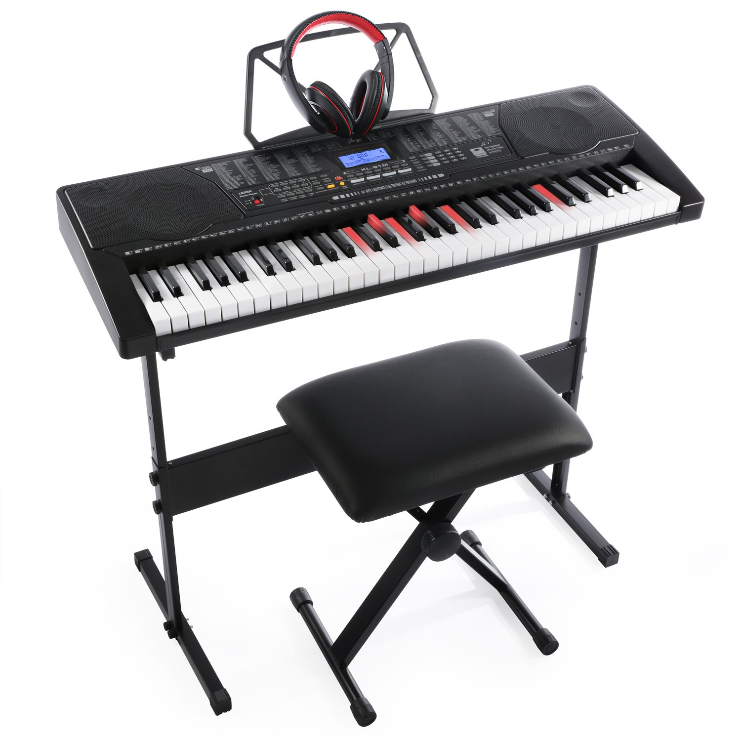 Joy 61-Key Lighting Keyboard with USB Music Player Function, Including Headphone, Stand & Stool (Kl-91MKit) by Joy