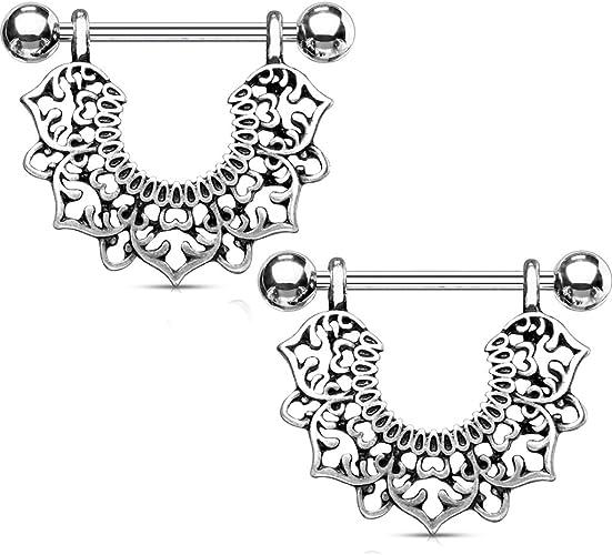 PAIR Flower /& Pearl Dangle Nipple Shields Rings 14g