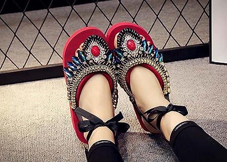 SHINIK Sandales à bretelles perlées à la main Pantoufles Sandales Bohème cousues à la main Gem Retro Style Folk Pantoufles Taille 35-40 (Couleur : Rose, Taille : 40)