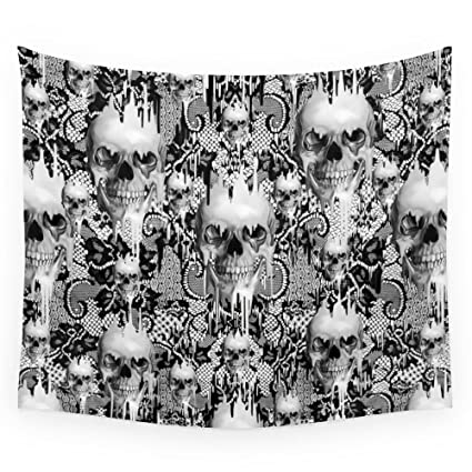 Society6 Victorian Gothic Lace Skull Pattern Wall Tapestry Small 51quot