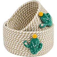 Small Basket Set of 2 Cactus Mini Woven Baskets Round Cotton Rope Basket Little Storage Baskets for Organizing Bins…