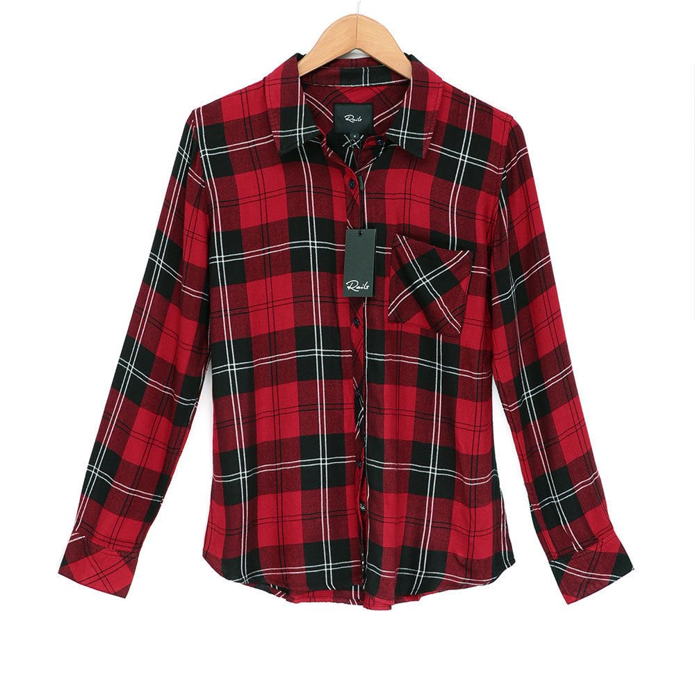 Rails Womens Hunter Plaid Button-Front Shirt with Pocket