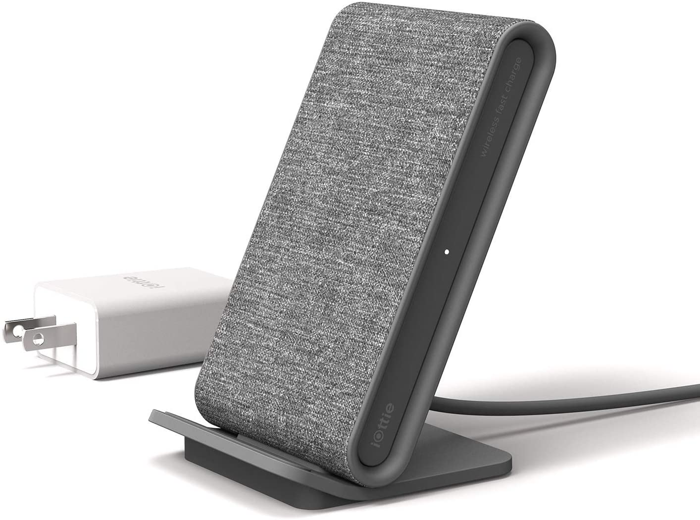 iOttie Ion Wireless Fast Charging Stand    Qi-Certified Charger 7 5W for iPhone Xs Max R 8 Plus 10W for Samsung S9 Note 9   Includes USB C Cable   AC Adapter   Ash