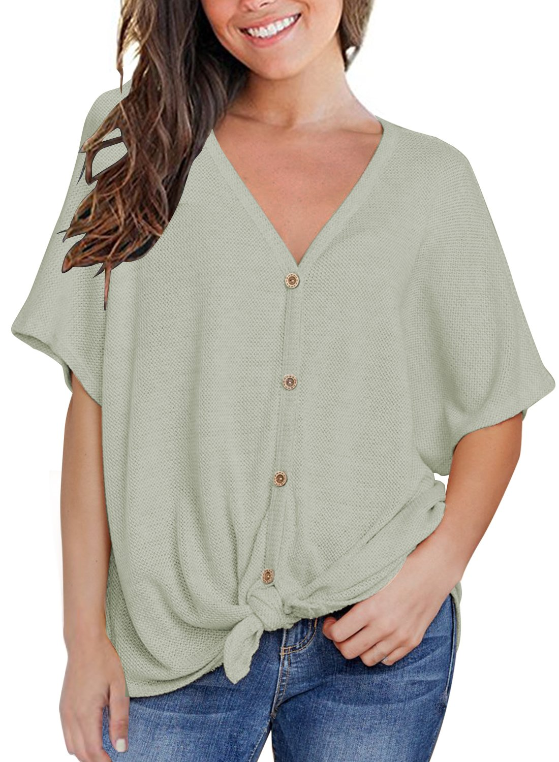 MIHOLL Womens Loose Blouse Short Sleeve V Neck Button Down T Shirts Tie Front Knot Casual Tops (Medium, Light Green)