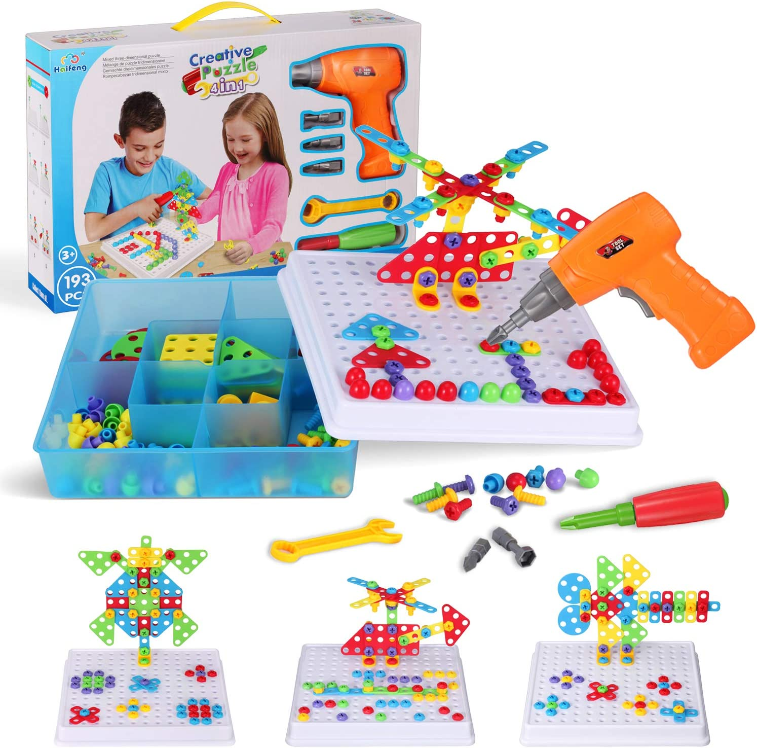 Haifeng Design Gift Drill Educational Toys Games Set 3D Construction Building Block and STEM Engineering Toys Kit Engineering Toolkit Best Gift for Boys and Girls!
