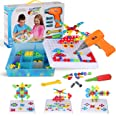 Creative Mosaic Drill Set for Kids, STEM Learning Toys, 3D Construction Engineering Building Blocks for Boys and Girls Ages 3