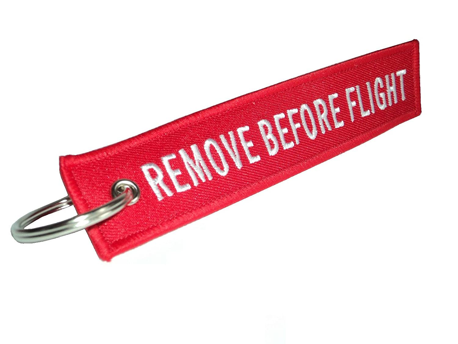 Red Embroidered Remove Before Flight Keyring Keychain Luggage Tag