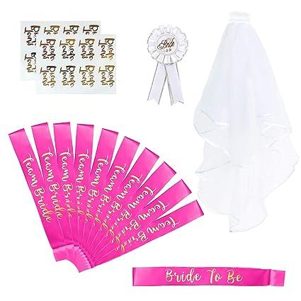 Naler 15pcs Set accessori per addio al nubilato, Sposa per essere Team  Bride Sash Veil per Night Party Wedding da sposa Donna Amazon.it Casa e  cucina