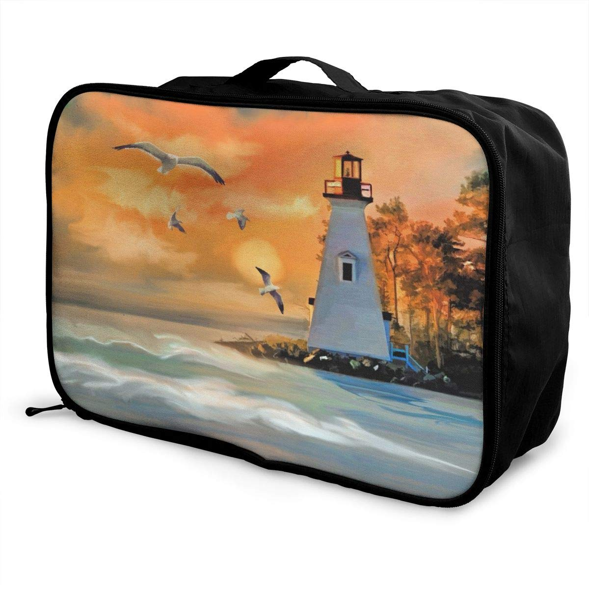 Art Painting Seagull Lighthouse Ocean Travel Lightweight Waterproof Foldable Storage Carry Luggage Large Capacity Portable Luggage Bag Duffel Bag