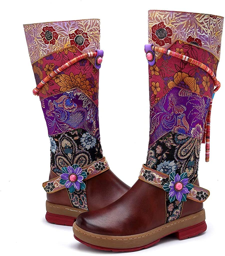♫Loosebee♫ Women Ethnic Style Handwork Floral Flower Splicing Pattern Rainbow Knee Boots Mid-Tube Shoes Mid-Calf Boot