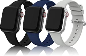 EDIMENS Sports Silicone Bands Compatible with Apple Watch 42mm 44mm Men Women, 3 Pack Soft Bands Wristbands Compatible for Apple Watch iWatch Series 6 5 4 3 2 1 SE Sport Edition Navy Blue Stone Black