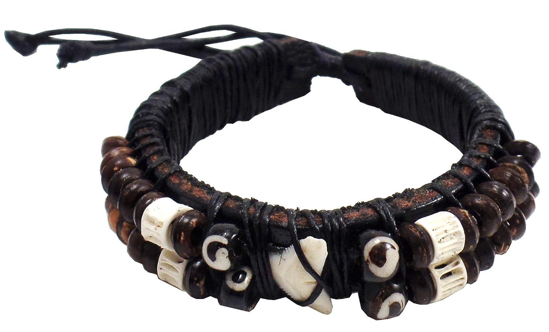 Men's Handmade Shark Tooth Wood Beads Leather Cuff Hawaiian Style Bracelet - DeluxeAdultCostumes.com