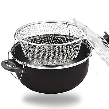 24CM NON STICK CHIP PAN SET FRYER DEEP FAT FRYING BASKET POT WITH GLASS LID