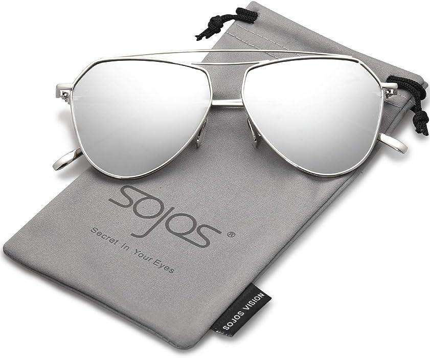 SOJOS Polarized Flat Mirror Lenses Sunglasses Classic Metal Double Bridge Glasses SJ1040