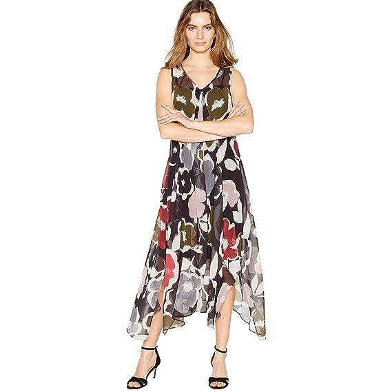 3a8ef683a065 John Rocha Womens Black Abstract Floral Print 'Nicola' Midi Dress 8