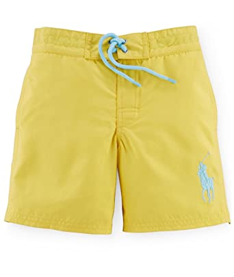 cf9c10f53c211 Amazon.com: RALPH LAUREN Boys Solid Swim Trunks (2/2T, Signal Yellow ...