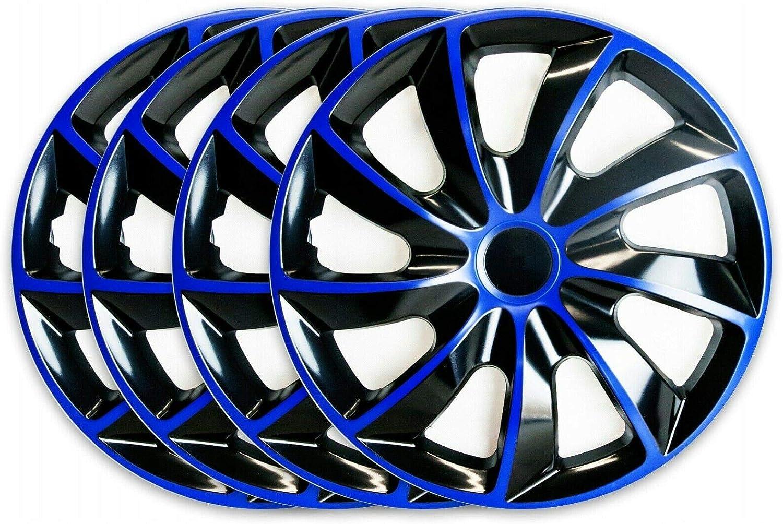 16 Pulgadas TEILE-24.EU Malinowski Q16B Juego de 4 tapacubos Negro Color Azul