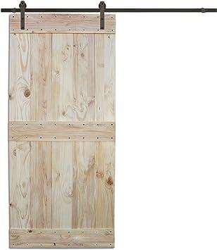 6 ft Puerta Corredera hardware set con dos mid-bar placa de madera color pino interior puerta de granero: Amazon.es: Bricolaje y herramientas