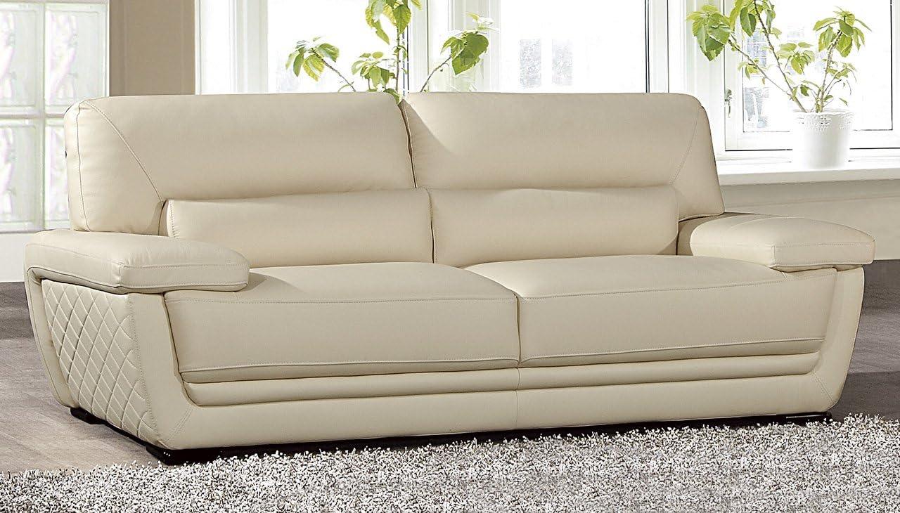 "American Eagle Furniture Emma Modern Italian Leather Living Room Sofa, 87"", cream"