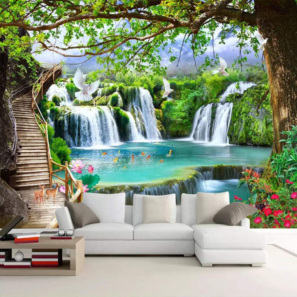 Carta da parati 3D Fotomurale Murale alla moda Decorazione da Muro Paesaggio verde della natura della grande cascata dellalbero Poster Design Quadri murali Fotomurali-150x105cm