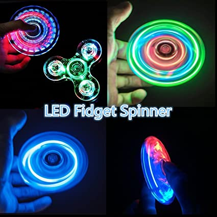 Wangyue LED Hand Spinner Glowing In The Dark Transparent Crystal Finger Toy With 3 Independent
