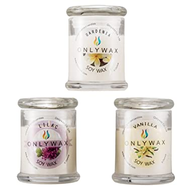 Onlywax Scented Candles Gift Pack 3 x 6-Ounce (Gardenia, Vanilla and Lilac Blossoms), 100% Natural Soy Wax Home Aromatherapy Candle in Reusable Glass Jar for Her