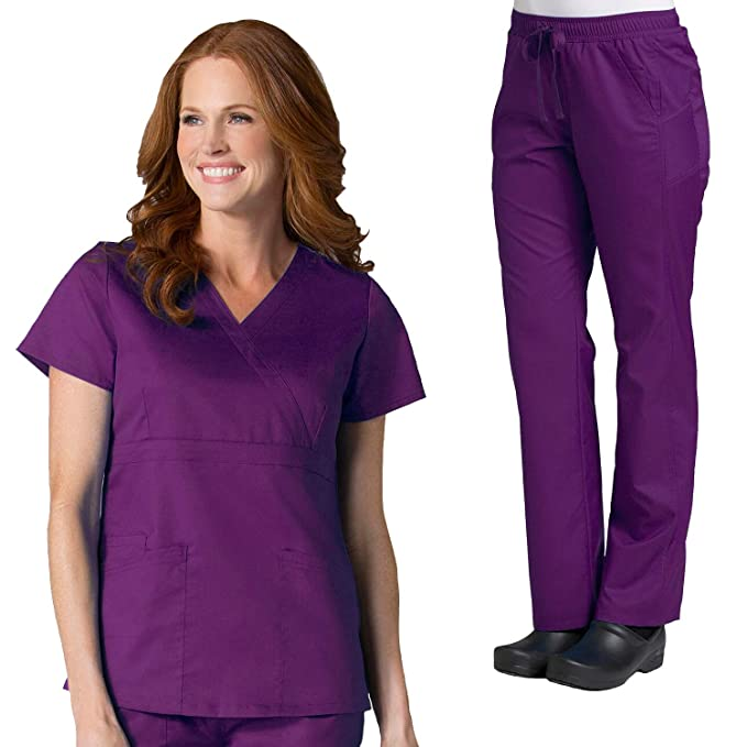 EON Active by Maevn Womens Sporty Mesh Top & Straight Leg Panel Pant Scrub Set Scrubs