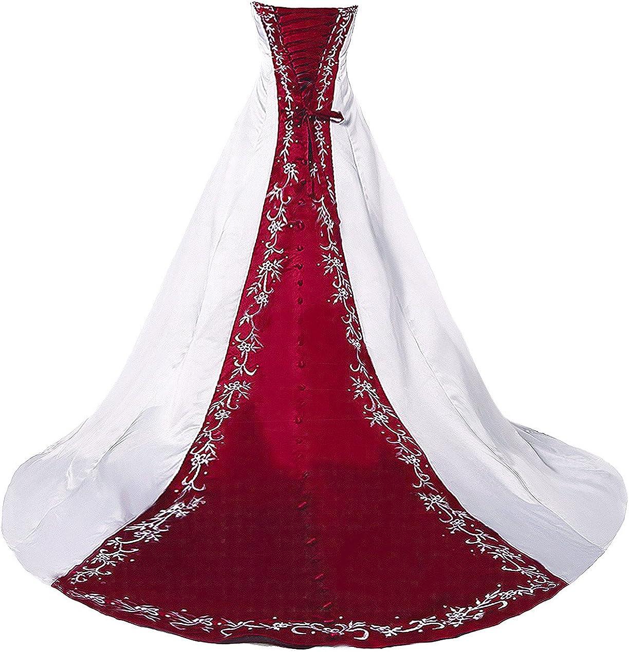 FairOnly H20 trägerloses Stickerei Weiß Rot Brautkleider