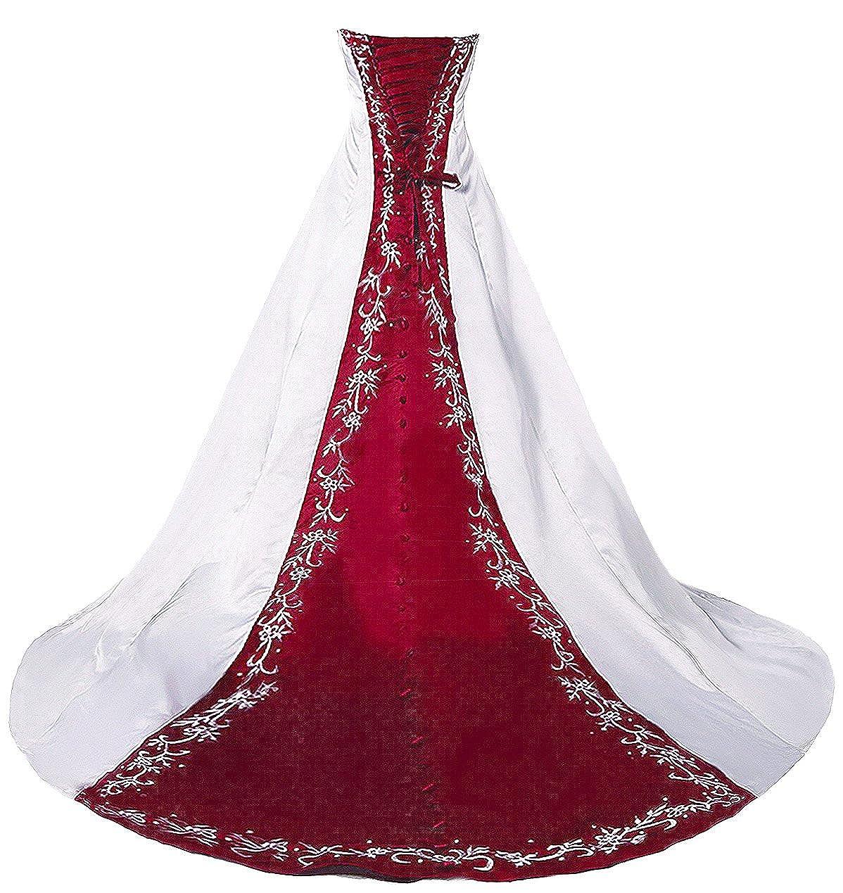 Faironly H36 trägerloses Stickerei Weiß Rot Brautkleider