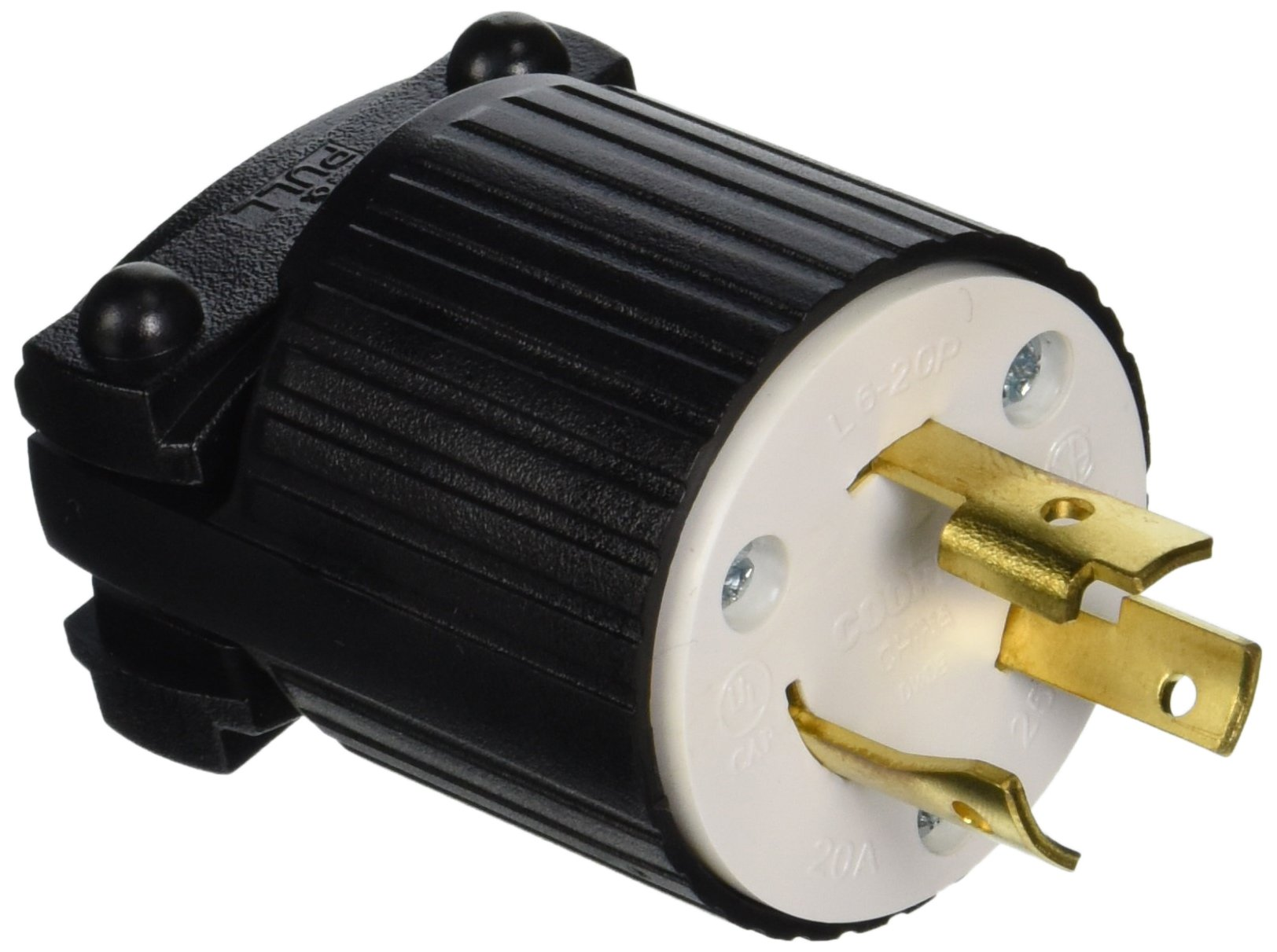 Eaton L620P 20-Amp 250-Volt Hart-Lock Industrial Grade Plug with Safety Grip Black and White