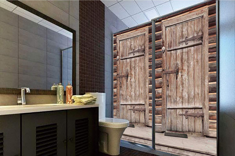 Horrisophie dodo 接着剤不要 静電気でくっつくガラスステッカー 素朴な装飾 古い木製の板の家 アンティークなドアと窓 石付き ロッキーストリート ブラウン 高さ35.43インチ x 幅23.62インチ 自宅&オフィス用 47.24