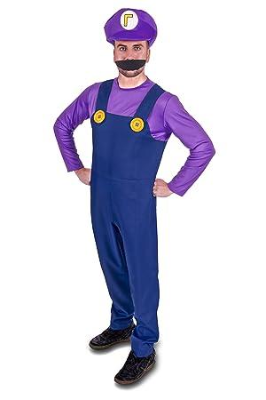 Big Party Costumes Súper Hermanos Fontanero Disfraz de Adultos (Hombres: Pequeño, Púrpura)